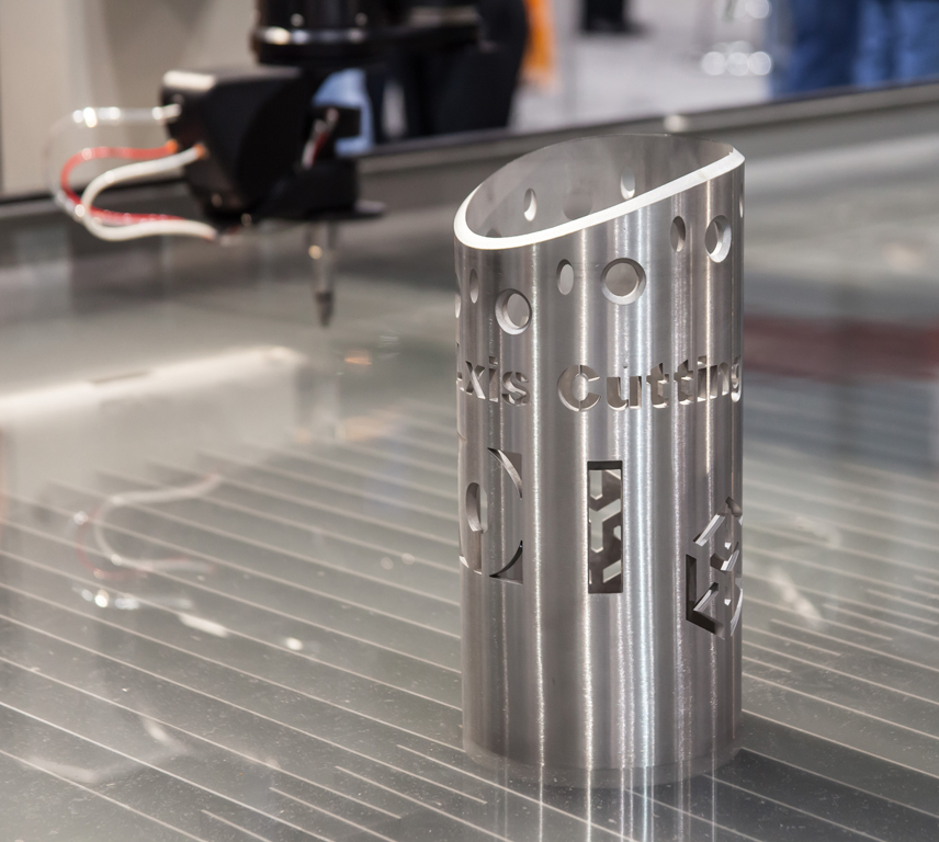 The OMAX JetMachining Center is capable of six-axis 3D cutting, with the Rotary Axis and A-Jet providing new opportunities for manufacturers.
